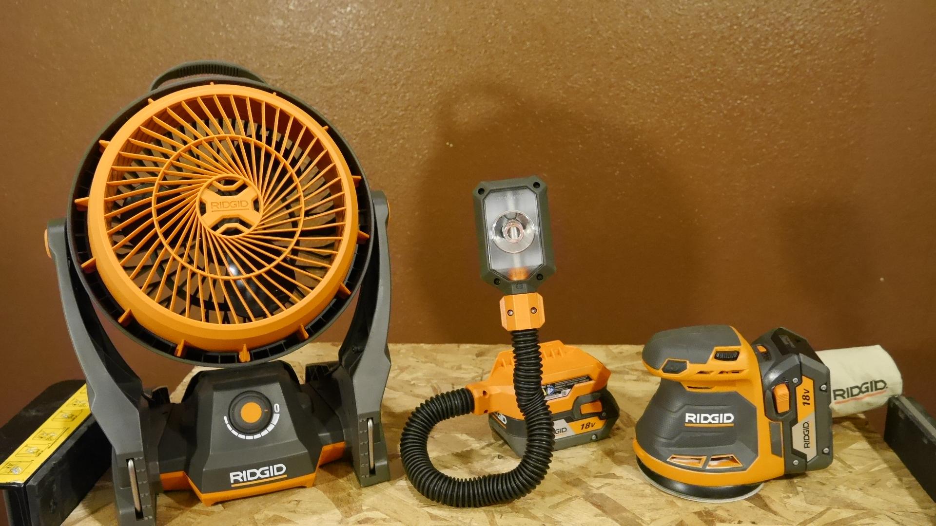 New Ridgid 18v X5 Cordless Tools Sander Fan Work