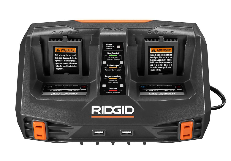 new ridgid genx5 18v dual port charger tool craze. Black Bedroom Furniture Sets. Home Design Ideas