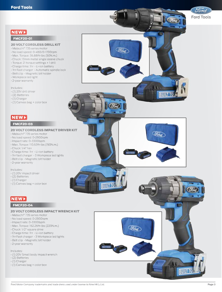ford 20v tools drill & Impacts