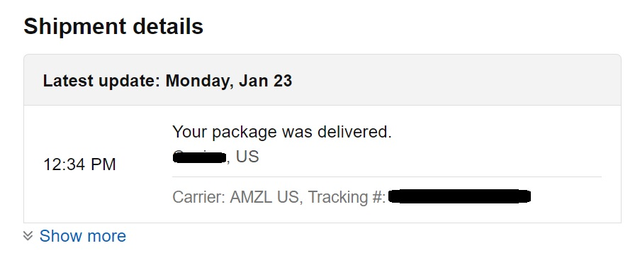 AMZL US - Amazon ships products using their own Shipping