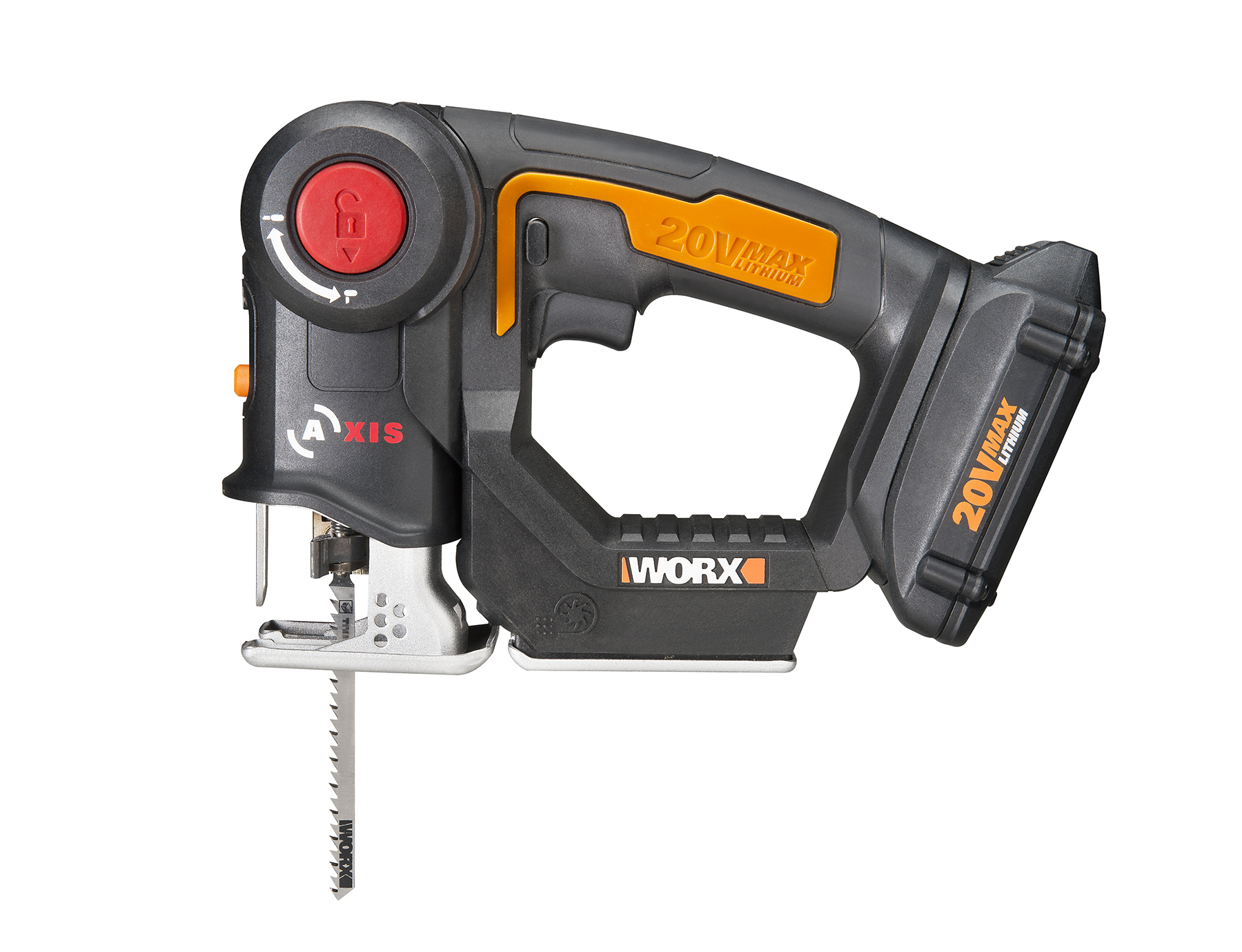 Worx 20v axis combines a recip saw and jigsaw into one tool tool that right there is pretty interesting as the easy route would have been to only give it one blade mount or the other and use that for double duty keyboard keysfo