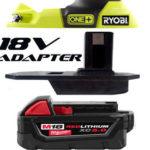 Ryobi Adapter lets you use Dewalt Makita or Milwaukee 18V Batteries on Ryobi 18V Tools