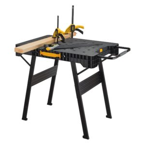 folding workbench. the dewalt folding workbench can set up quickly with its fold out metal legs and has plenty of peg holes for use bench dogs or clamps.