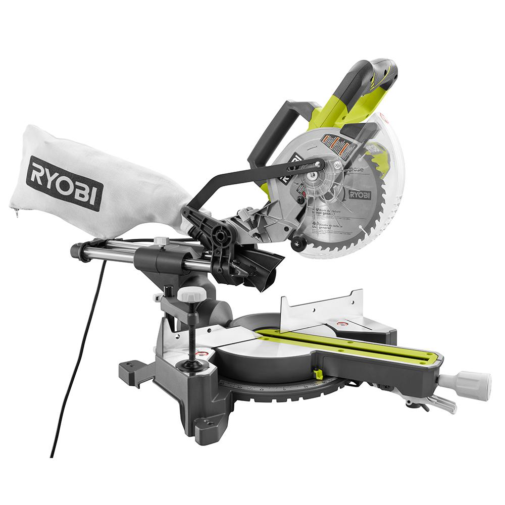 Ryobi 7 14 sliding miter saw tss701 10 amp corded model tool craze ryobi has a new corded 7 14 inch sliding miter saw model tss701 the small 7 14 blade keeps the entire saw small and light while the rails allow it to greentooth Image collections