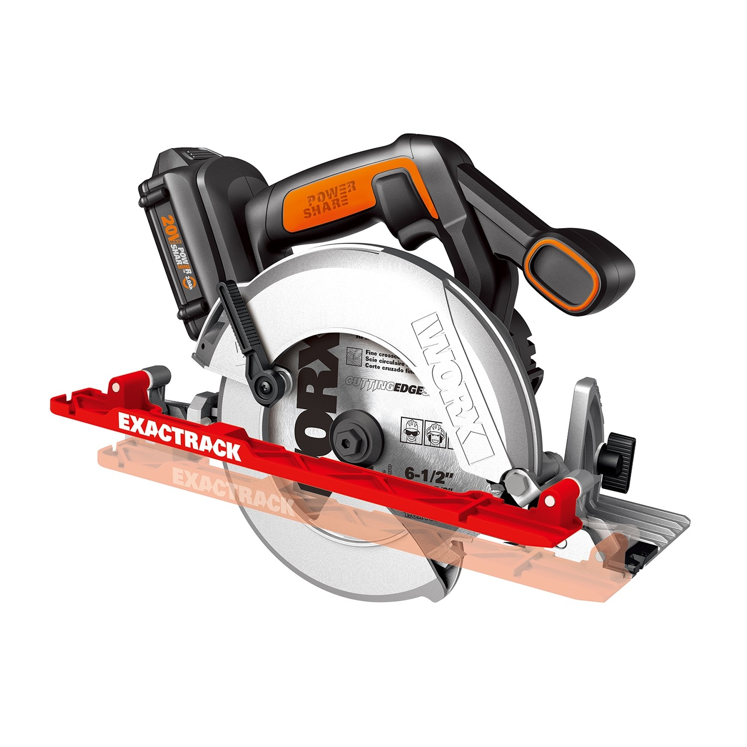 Worx exactrack 20v circular saw wx530 wx530l tool craze worx has an interesting new cordless 20v circular saw called exactrack the model number is wx530 if you live in the uk and wx530l for those of us in the greentooth Images