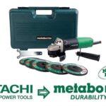 Metabo HPT 4-1/2″ 6.2Amp Angle Grinder w/ 5 Wheels & Hard Case $29
