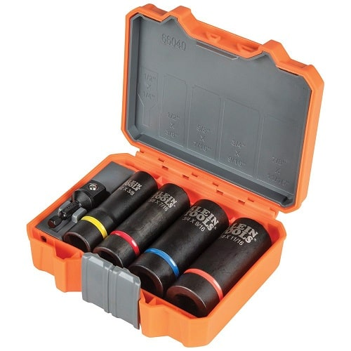Klein Tools 2 in 1 Imperial or Metric Socket Sets Include Eight Sizes Combined into 4 Sockets